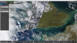 Satellite travels East to West. This is a composite of dawn / right and late afternoon / left